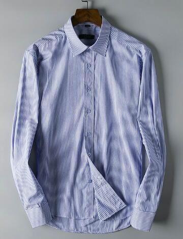 734426eb7f Compre Olhar Milan Men Listrado Camisas De Vestido De Algodão Homem Pólo  Formal Azul Cinza Rosa De Nike express