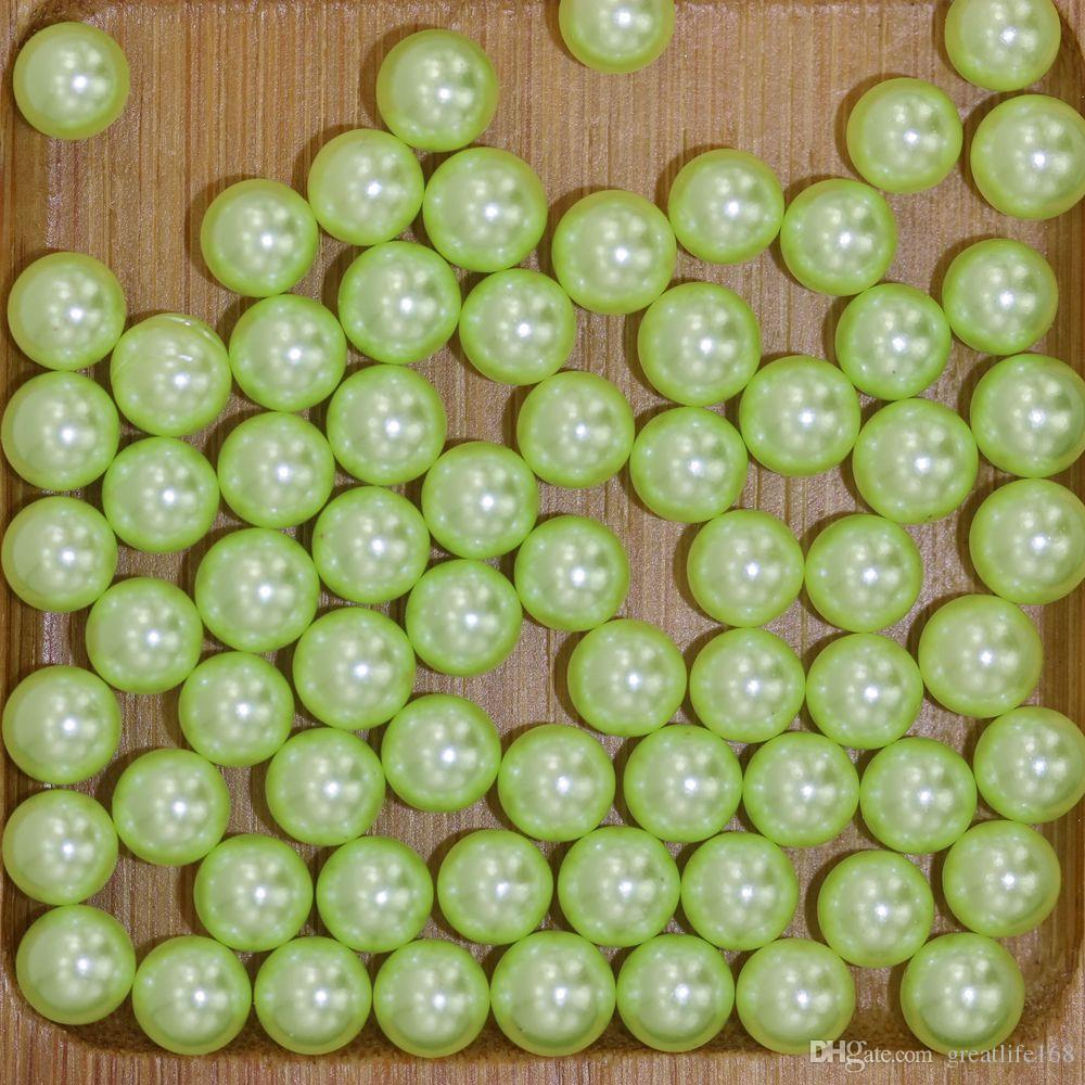 Light green No Hole 1.5-5mm Round Pearls Imitation Pearls Craft Art Diy Beads Nail Art Decoration