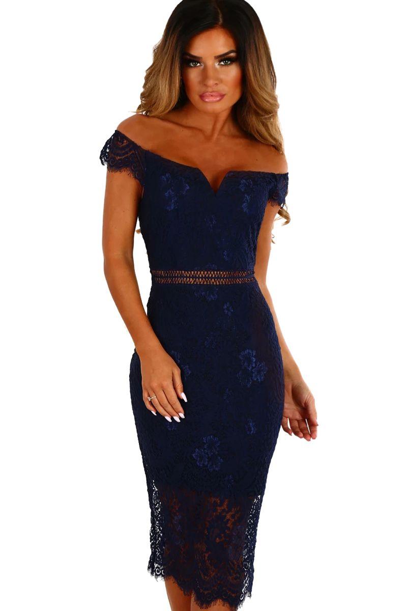 1e5a89766a63 Acquista Abiti Spalla Spalla 2018 Sexy Party Elegante Estate Donna Navy  Lace Bardot Midi Dress Vestido De Renda Abiti Robe Femme A  14.08 Dal ...