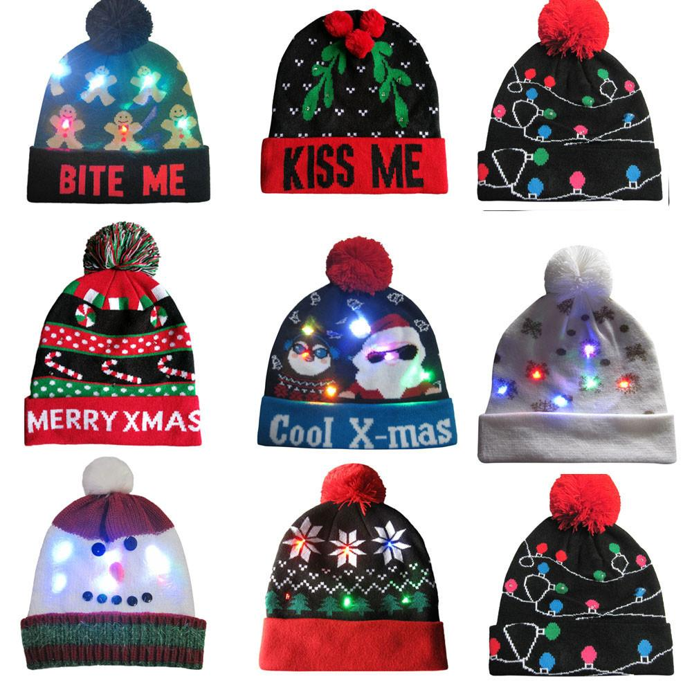 0633f7de2c4dd 2019 LED Light Up Knitted Ugly Sweater Holiday Xmas Christmas Beanie Winner  Warm Keep Warm Drop Shipping From Bluelike