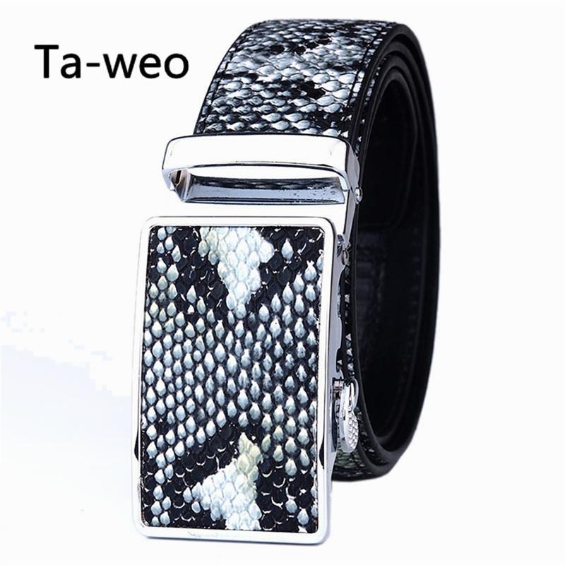 Мода мужские кожаные ремни, искусственная змеиная кожа полосатый ремень Ремень высокое качество, дизайнер повседневная автоматическая пряжка ремни