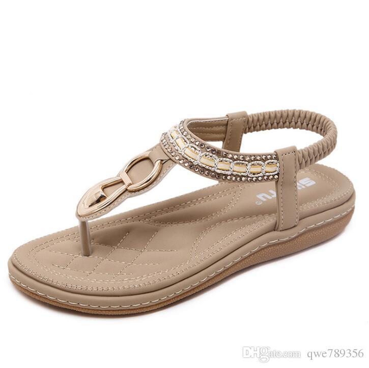 SIKETU New Women Bohemia Flat Sandals Shoes Woman String Bead Flip Flop  Metal Decoration Beach Sandals Casual Shoes Size 35 45 Wedding Sandals  Walking ... a24932071d6c