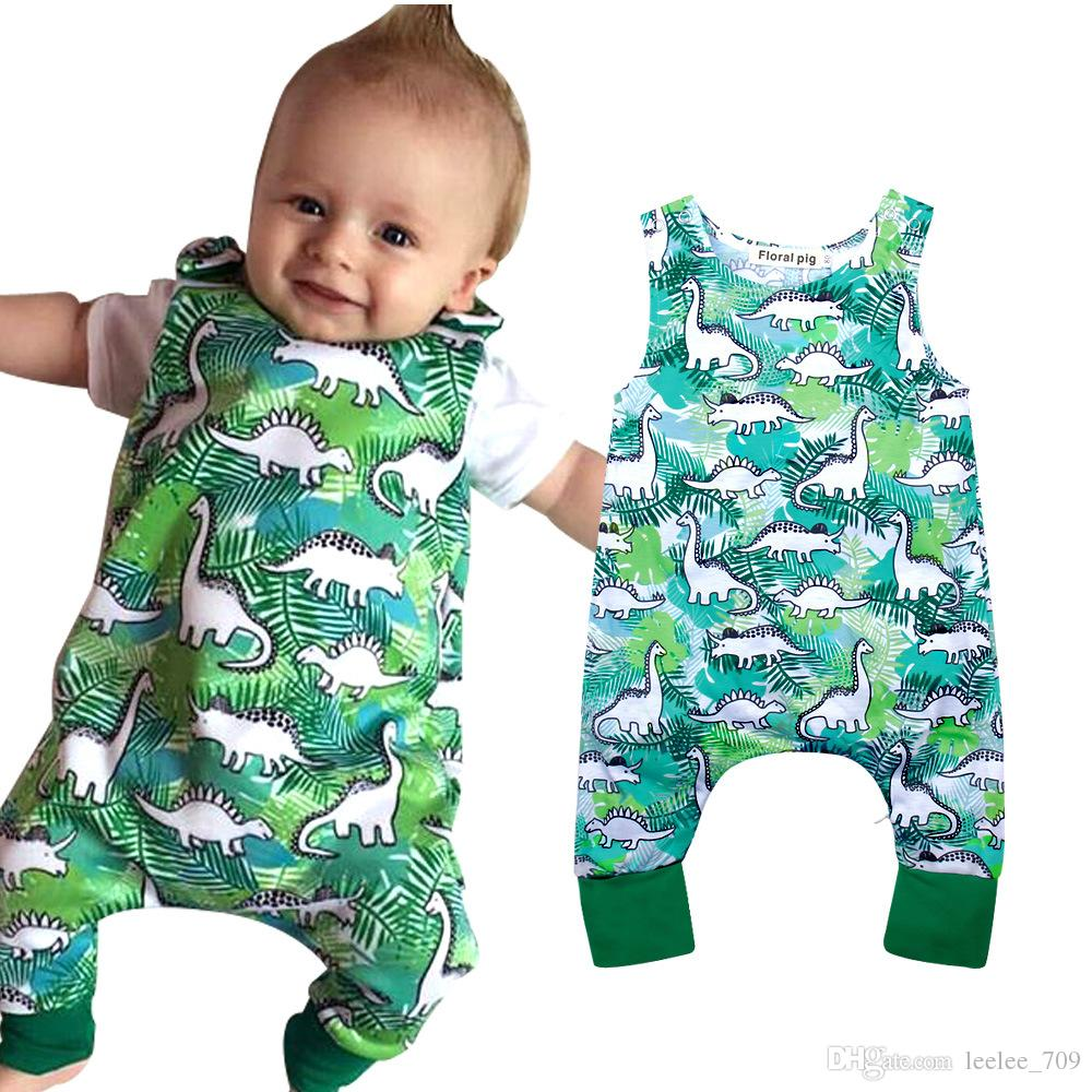 1e6dbd04a Newborn Infant Baby Boys Dinosaur Romper Jumpsuit Sleeveless Green Kids  Outfit Bodysuit Boutique Summer Casual Kid Clothing