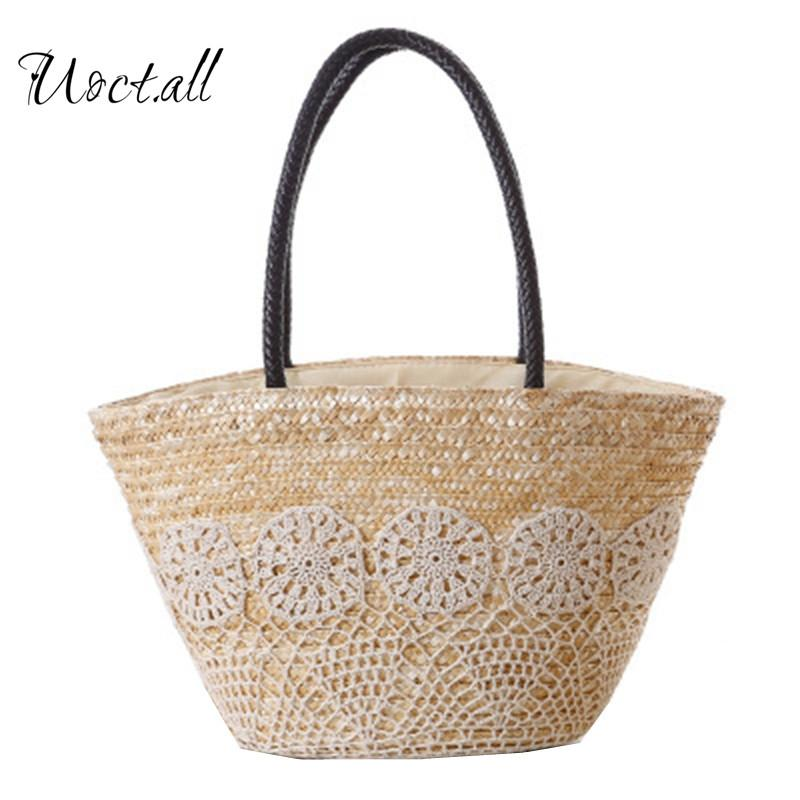 2018 High Quality Beach Bag Summer Big Straw Bags Handmade Woven Tote Women Travel Handbags Hook Flower Shopping Hand Bags