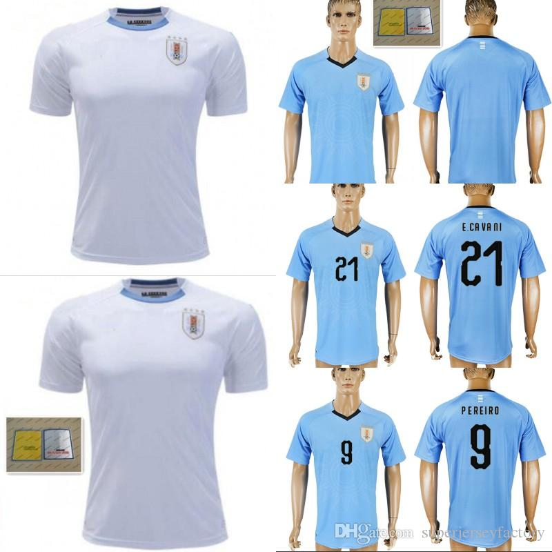 00355e9cf 2018 World Cup Men s Home Uruguay Soccer Jersey 3 D.GODIN 9 L.SUAREZ ...
