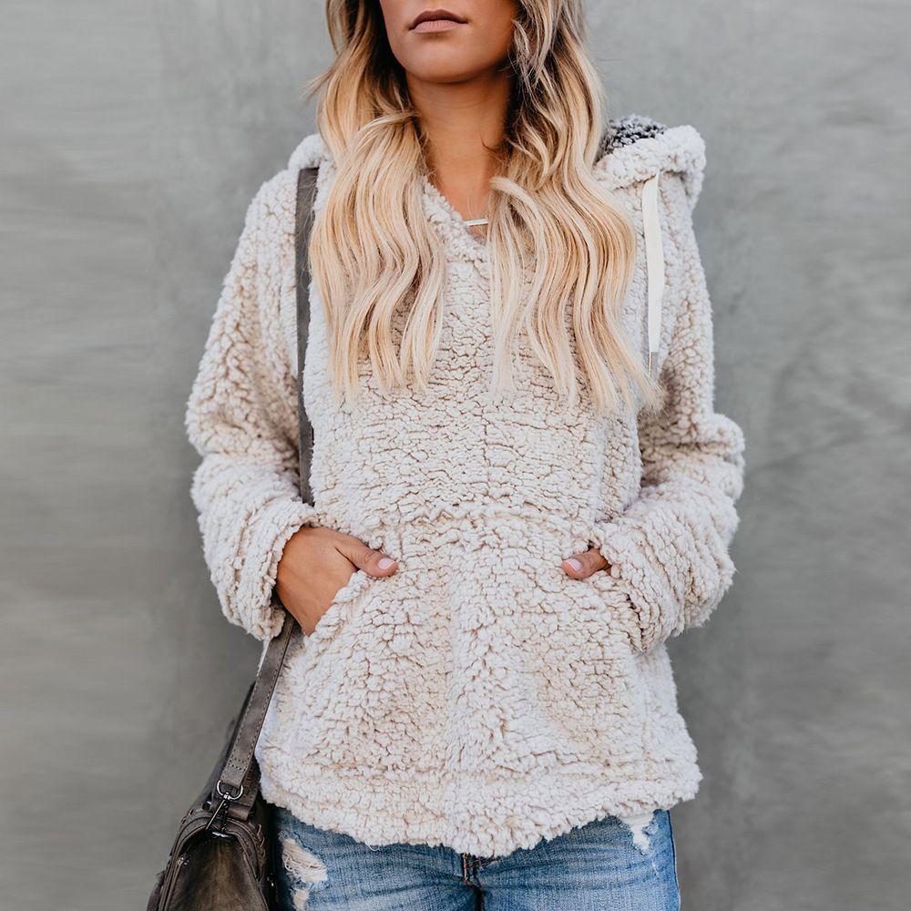 Frauen Sherpa Fleece Pullover Hoodie 5 Größen kausalen weichen Pullover Sweatshirt Outwear Mäntel Outdoor Girls Streetwear OOA5843
