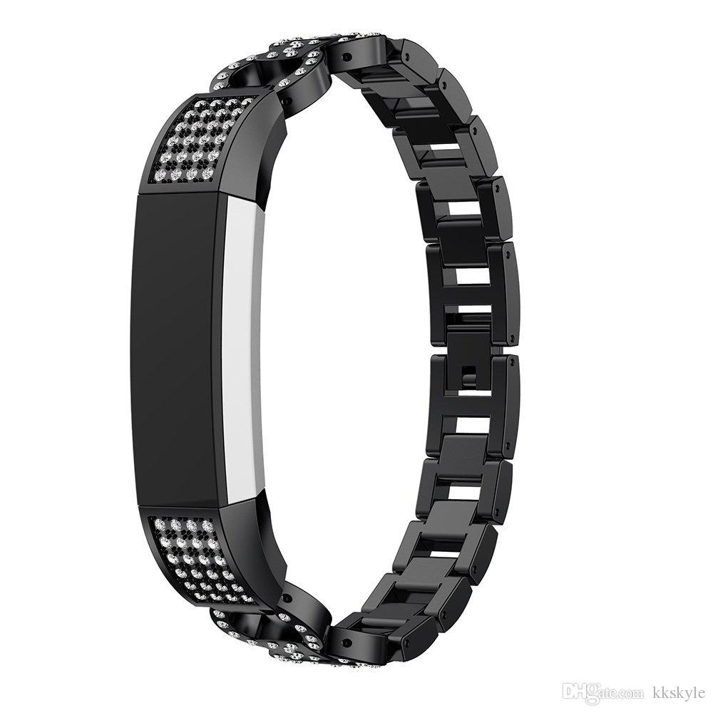 Bling Rhinestone Fitbit Alta HR Bands,Stainless Metal Bands Adjustable Jewelry Strap Bracelet for Fitbit Alta/Alta HR