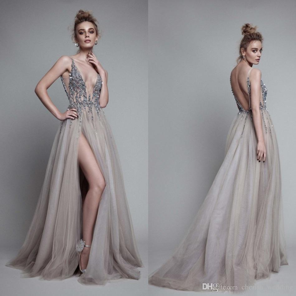 c0776e51a9 A Line Beaded Evening Dresses Sexy Deep V Neck Sleeveless Side Split Tulle With  Backless Prom Dresses Formal Party Gowns With Court Train Evening Dress  Lace ...