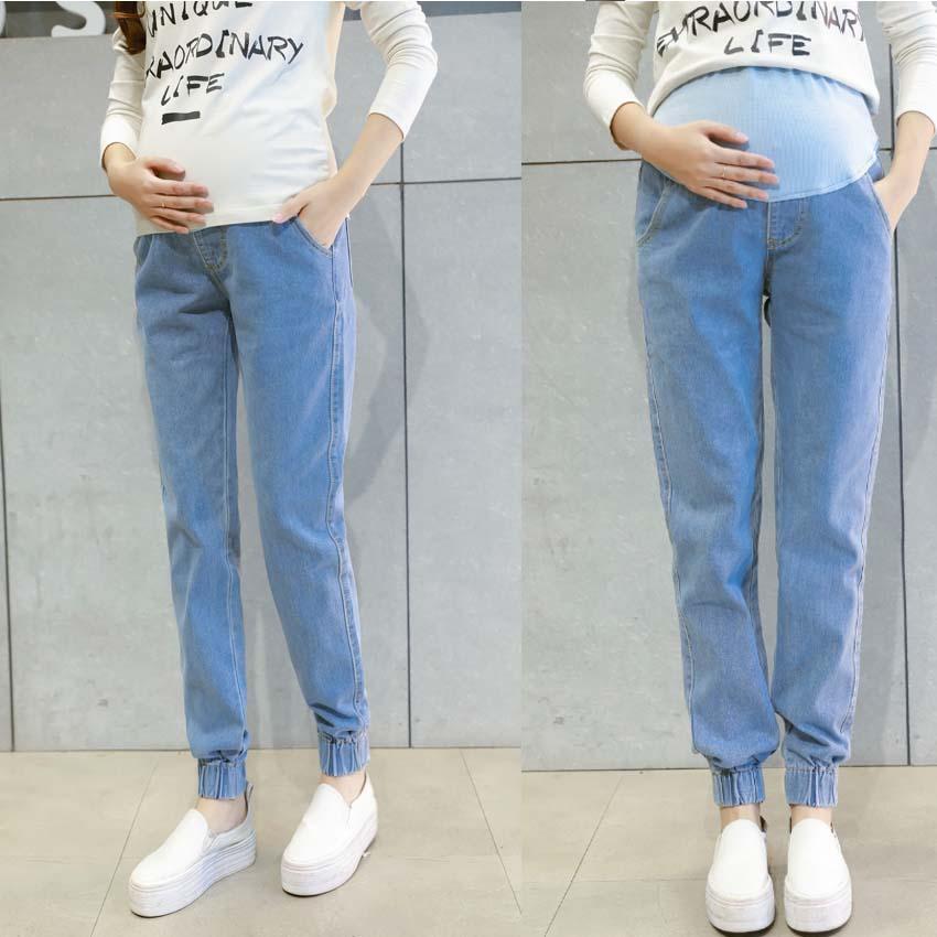 e9ec78436 Compre Jeans Ropa De Maternidad Pantalones Para Mujeres Embarazadas Ropa  Pantalones De Lactancia Trajes De Embarazo Denim Long Prop Legging De  Vientre Nuevo ...