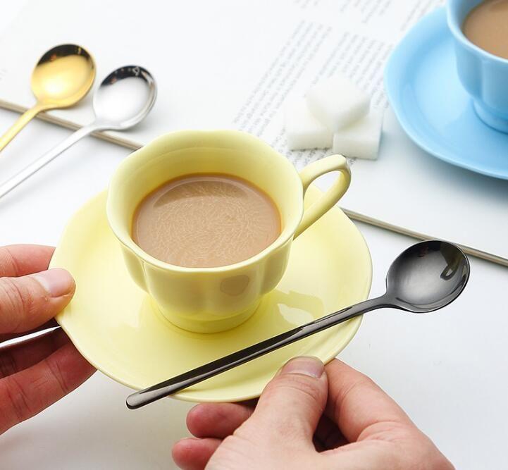 Colher De Aço inoxidável Açúcar chá café sorvete Colheres de mistura de talheres Colher De Café Do Vintage Beber Colher Ferramentas