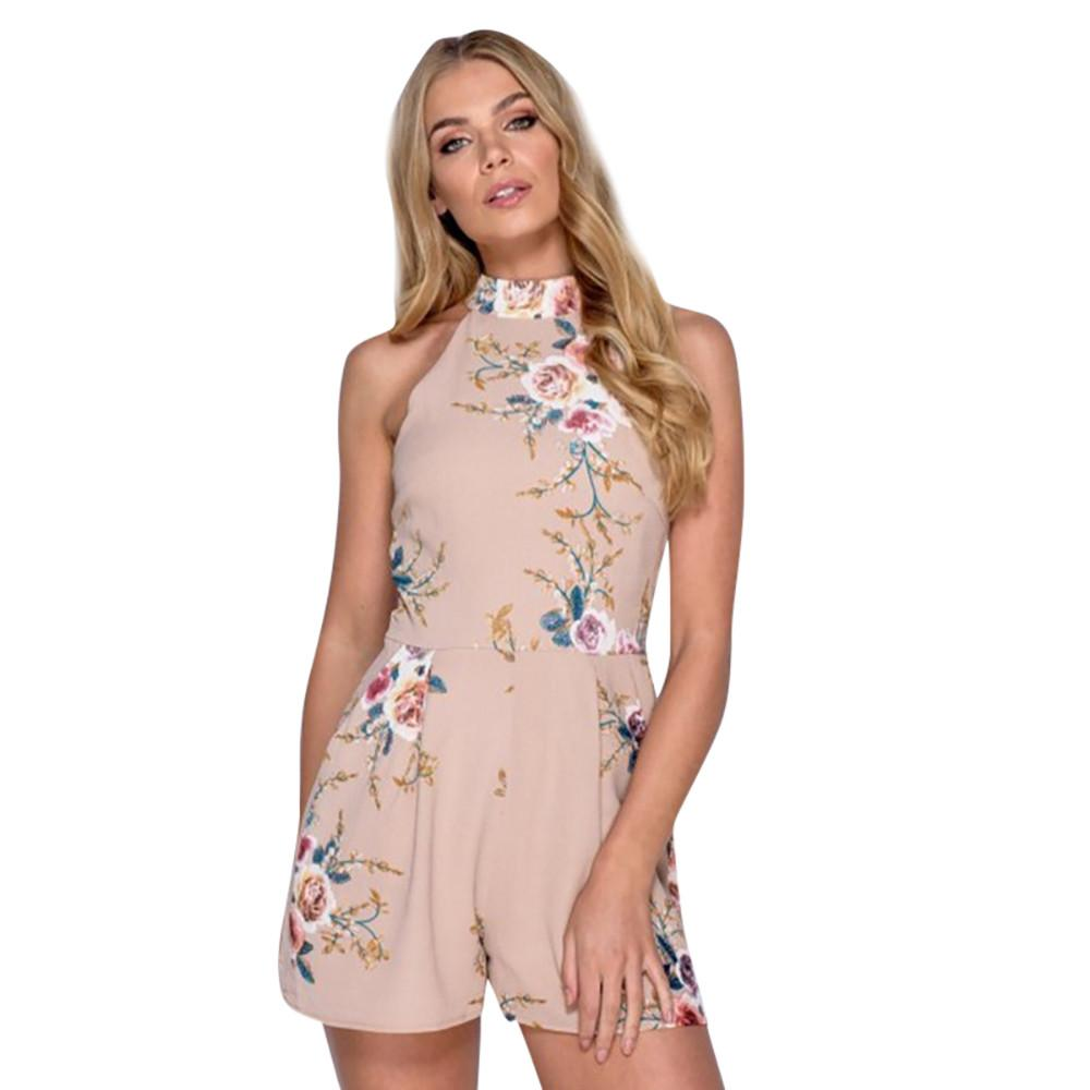 609136e076 2019 2018 Hot Selling Summer Women Romper High Neck Sleeveless Mini Playsuit  Durable Daily Casual Floral Ladies Shorts Jumpsuit From  Chongyangclothes002