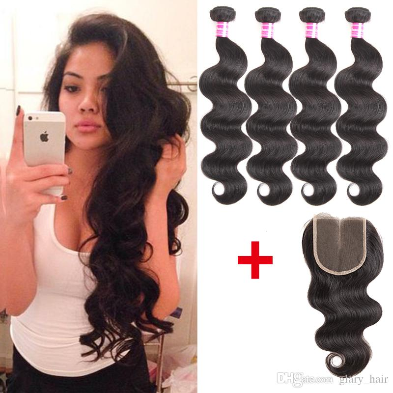 virgin brazilian hair body wave straight human hair weave with closure unprocessed ear to ear 13x4 frontal closure and 4x4 Lace Closure