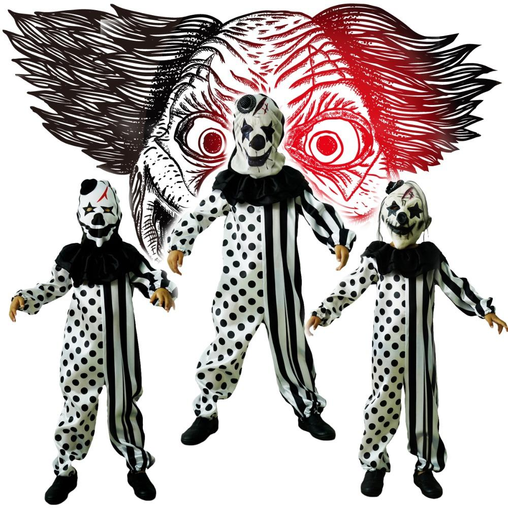 Boys Killer Clown Costumes Halloween Masquerade Party Role Play