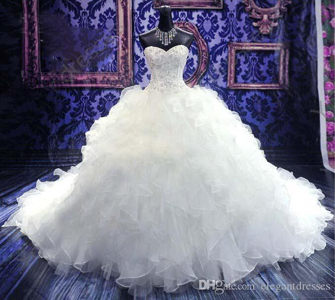 2018 Sweetheart Ball Gown Beaded Embroidery Bridal Gown Princess Gown Sweetheart Corset Organza Cathedral Church Tiered Wedding Dresses