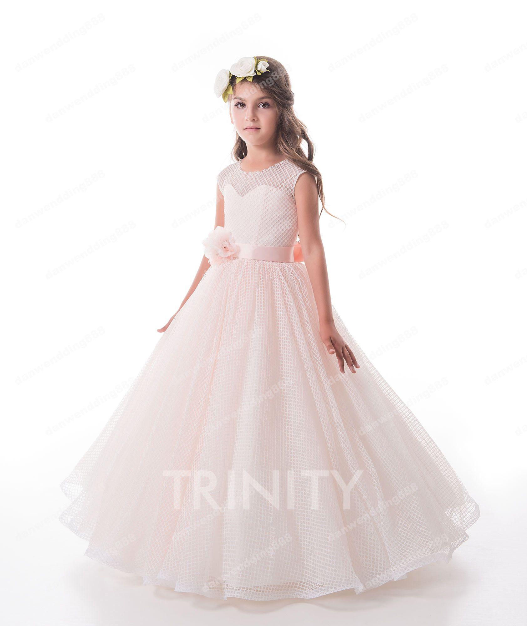 Pretty Ivory Grid Lace Jewel Flower Girl Dresses Princess Dresses
