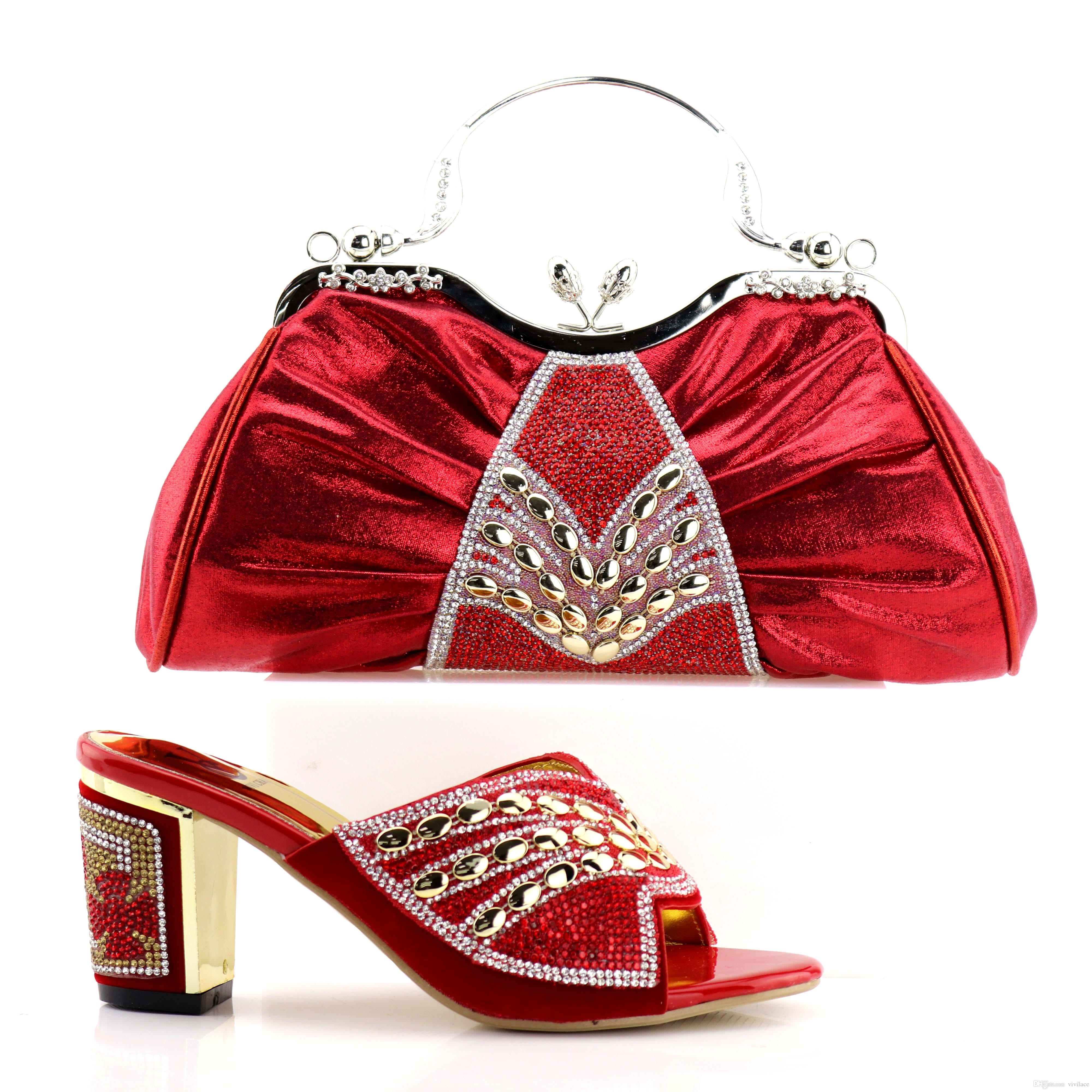 2018 Italian Matching Shoes and Bag Set Pink Color Italian Ladies Shoe and Bag Set Decorated with Rhinestone African Party Shoes