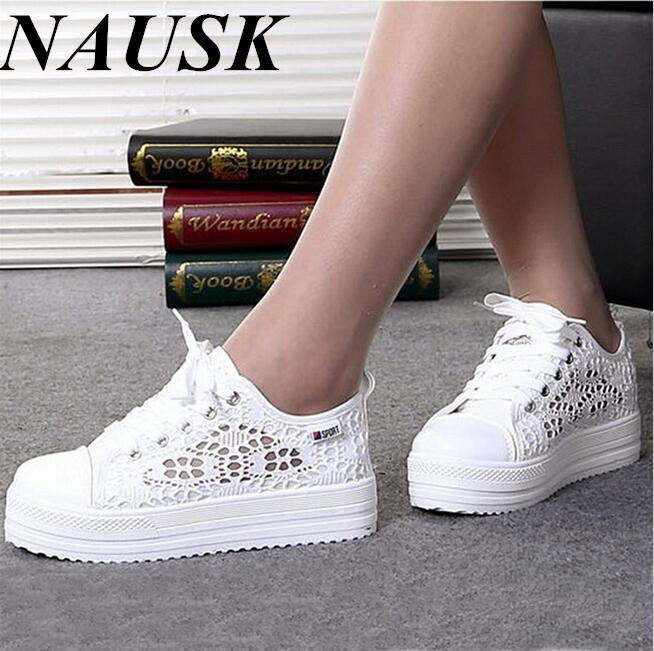 16df0a78073071 2019 Casual Casual Cutouts Lace Canvas Shoes Summer Women Shoes ...