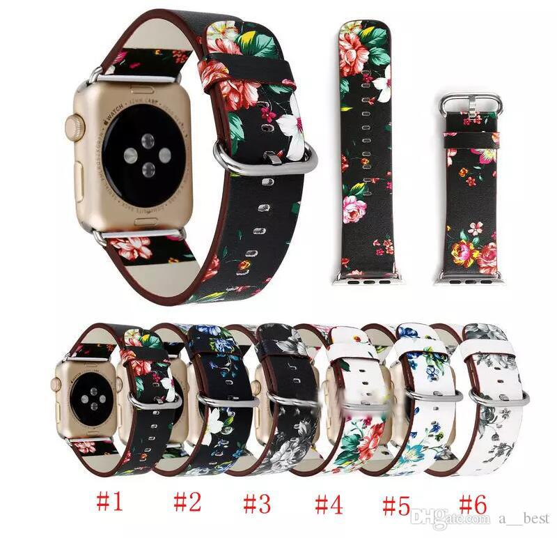 Leather Watch Band For Apple Watch 38mm 42mm For Iwatch Series 1 Series 2  Series 3 Flower Strap Floral Prints Wrist Watch Bracelet Watch Strap  Leather ... 5a1ceb6facaa