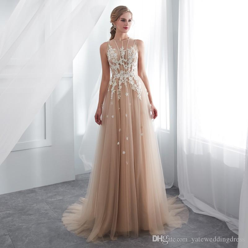 Champagne Evening Dresses With White Lace Applique Jewel Sleeveless A-Line Prom Gowns Back Zipper Sweep Train Real Image Size US2-US12 Gowns