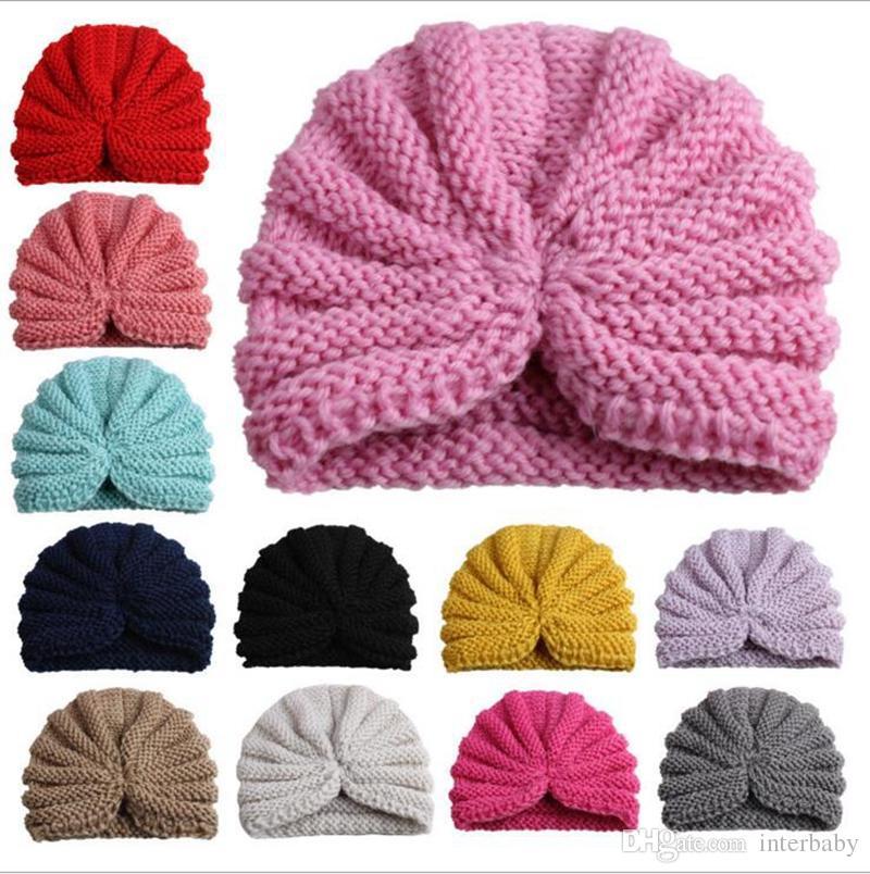 f474b720d Compre INS Bebé Crochet Sombreros De Punto Infantes Sombrero De La India  Niños Beanie Gorros De Invierno Gorro De Turbante Para Niñas Pequeñas Bebés  Gorros ...