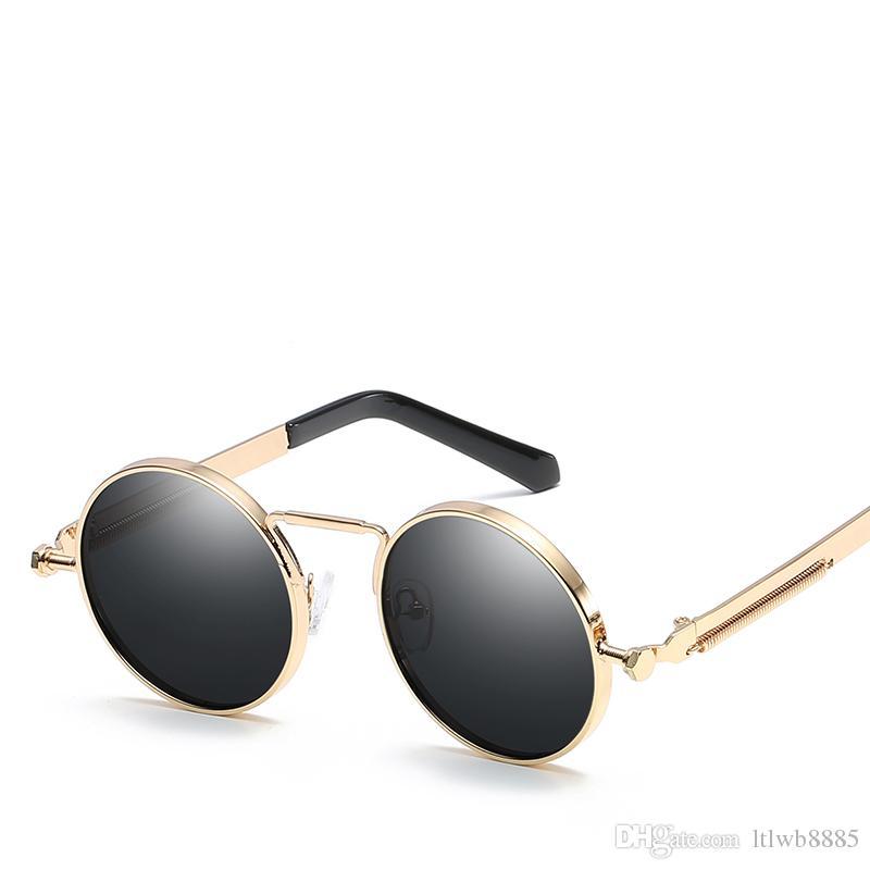 d83e1aa3c Compre Vintage Ronda Steampunk Gafas De Sol Mujer Hombre Moda Retro Redondo  Metal Steam Punk Gafas De Sol Hombres Oro Negro Gafas UV400 A $9.95 Del ...