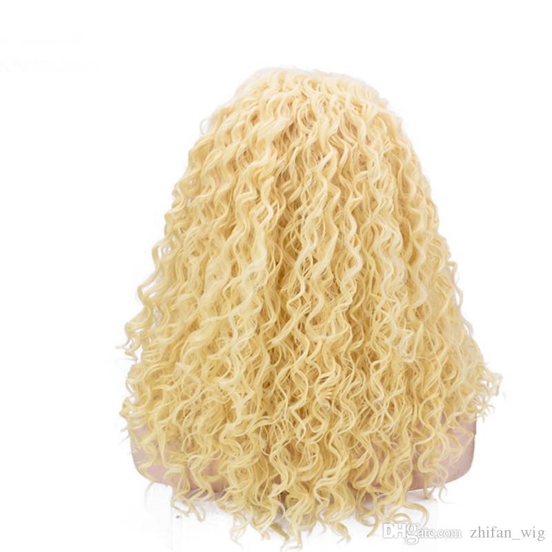 ZF Peluca delantera de encaje rubia Pelucas delanteras de encaje sintético de onda profunda para mujeres negras con cabello humano