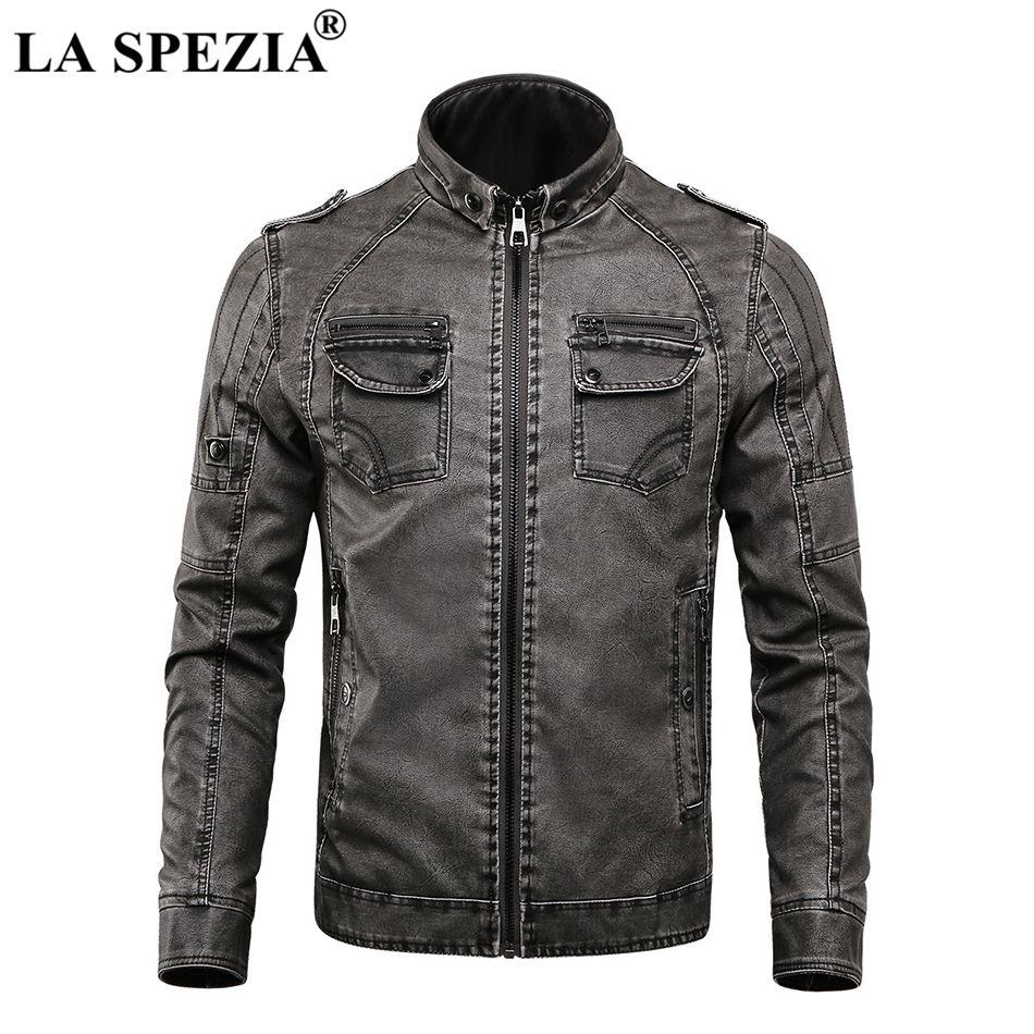 f9fe749abd8ad Compre LA SPEZIA Chaqueta De Moto Hombre Biker Chaquetas De Cuero Gris  Hombre Punk Rock Multi Zippers Bolsillos Fleece Thick Warm Winter Coats A   144.45 Del ...