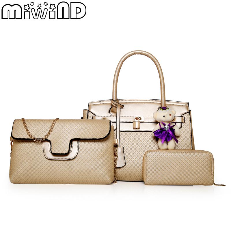 Women Bags Handbags Shoulder Bag For Female High Quality Luxury Leather Best Texture Fashion elegant 3-Piece Set MIWIND 2018 New