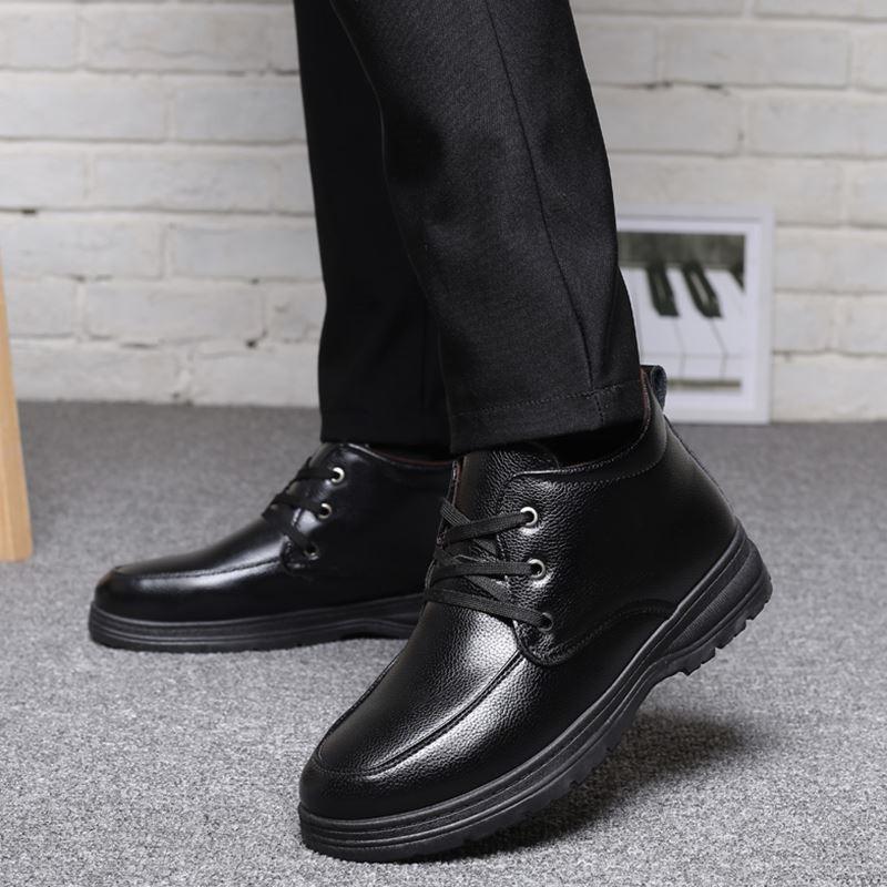 6cae6049cb92df Acheter Hommes Chaussures D'hiver Chaud Confortable En Cuir Neige Bottes  Hommes Bottes Imperméables Marque En Peluche Chaud Hommes Robe Bottes Pour  Hommes ...