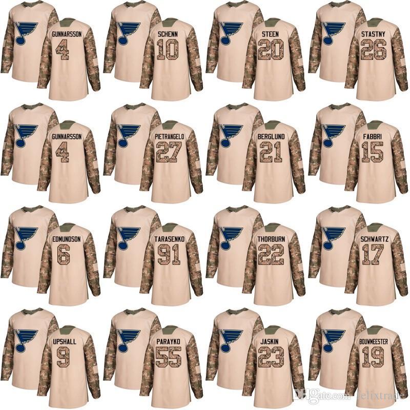6780453ebff 2019 St. Louis Blues Camo Jersey 2018 Veterans Day 10 Brayden Schenn 91  Vladimir Tarasenko 55 Colton Parayko 27 Alex Pietrangelo Alexander Steen  From ...