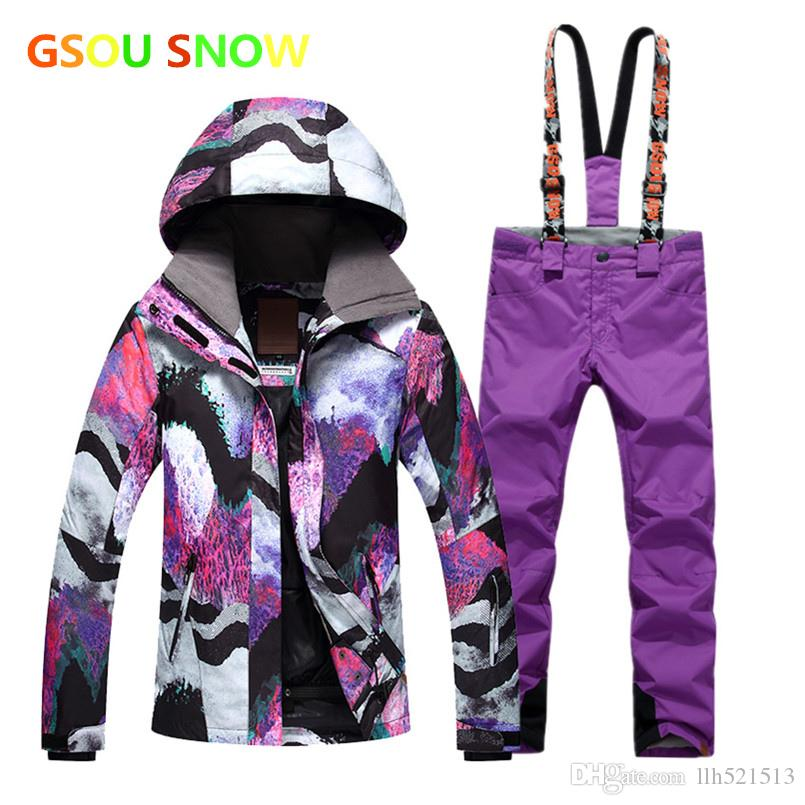 5fb350457e 2019 2018 Winter Gsou Snow Womens Ski Suit Female Snowboard Suit Snow Jacket  And Pants Womans Ski Clothing From Llh521513