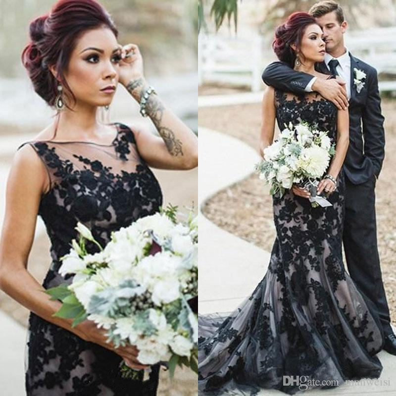 Appliques Black Lace Wedding Gown Mermaid Sheer Neck Tulle Gothic