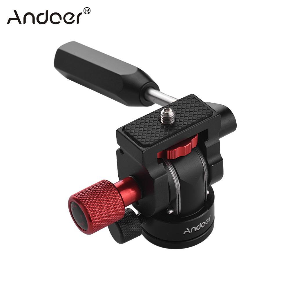 Andoer Professional Mini Phone Camera Video Tripod Head Fluid Drag Pan Head  with 1 4