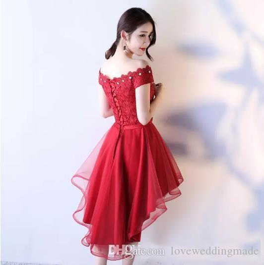 2018 Pretty Red Short Prom Dresses Hi-lo Cheap Girls Homecoming Party Evening Gown Lace&Tulle Beads Custom Made