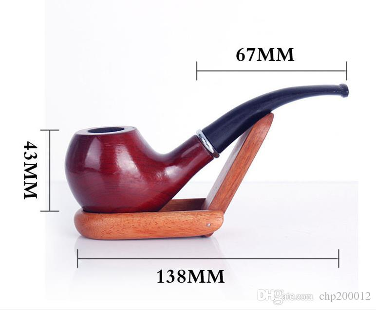 Mahogany plus solid wood pipe gift box mounted portable removable bending type free hammer smoking set