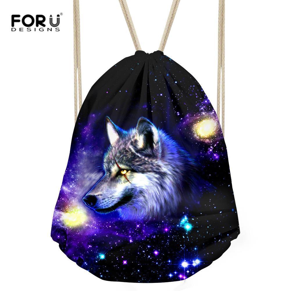 d94c8019661b FORUDESIGNS Galaxy Wolf Rucksack String Shoulder Bags Boys Drawstring  Backpack Rucksack Sack Bag Cool Student Vintage School Bag Y18100805