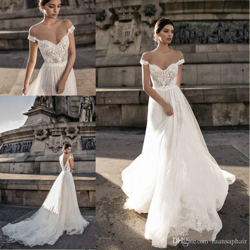 Hot Sell 2018 Sheer Bohemian Wedding Dresses Off the Shoulder Lace ...