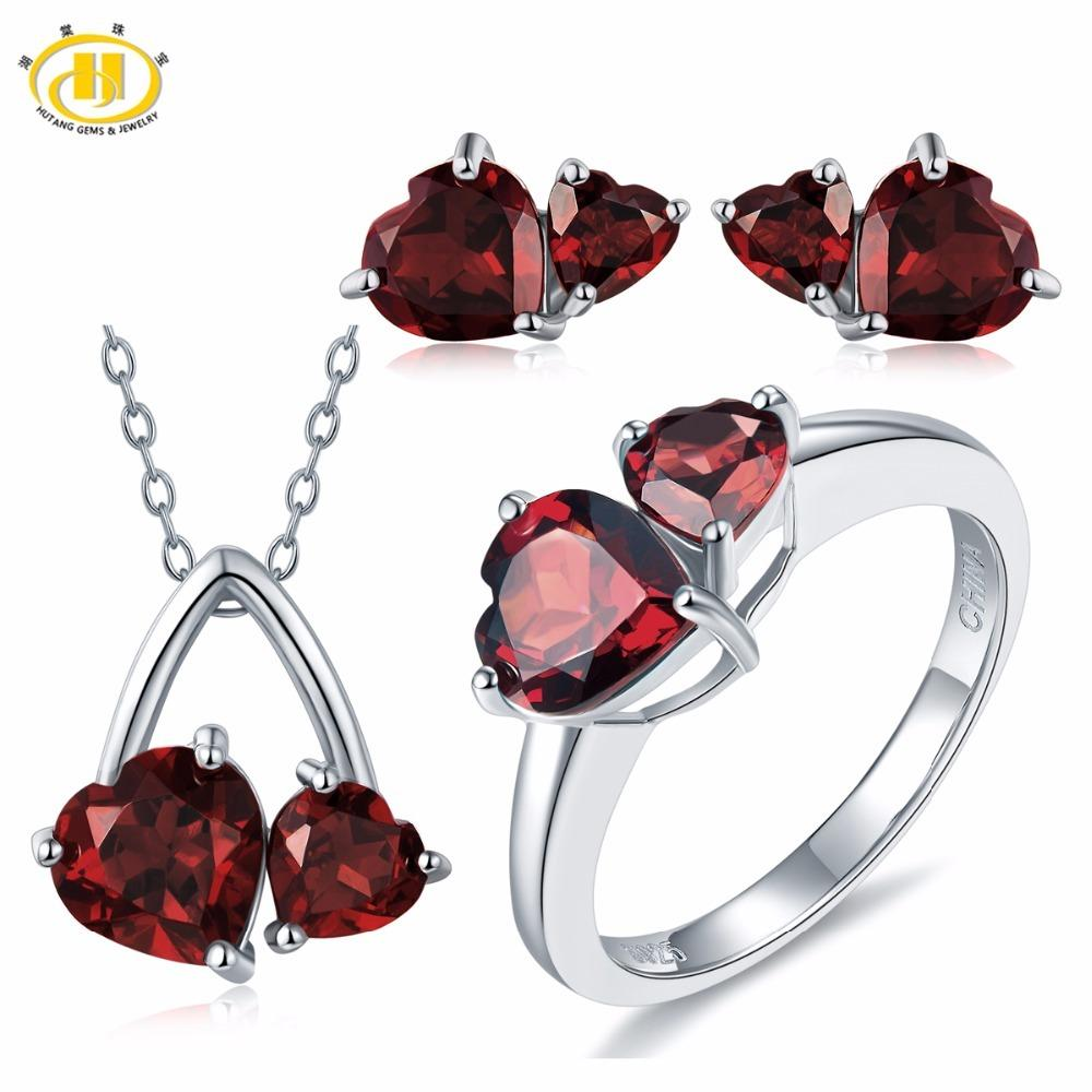 28a343cb6 2019 Hutang Solid 925 Sterling Silver 6.1ct Natural Gemstone Garnet Heart  Pendant & Earrings & Ring Fine Bridal Jewelry Sets For Gift S18101508 From  Datai, ...
