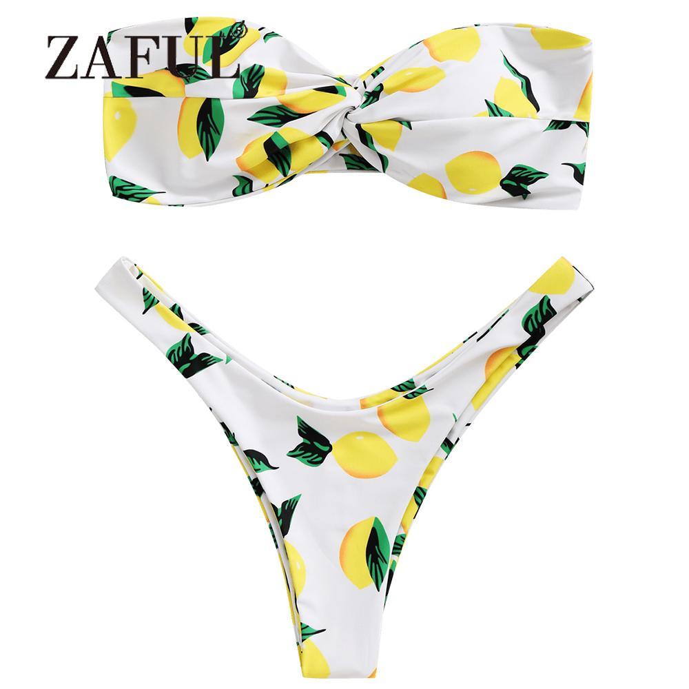 06cac460c8a63 Wholesale Lemon Bikini Print Twist Bandeau Bikini Set Women s ...