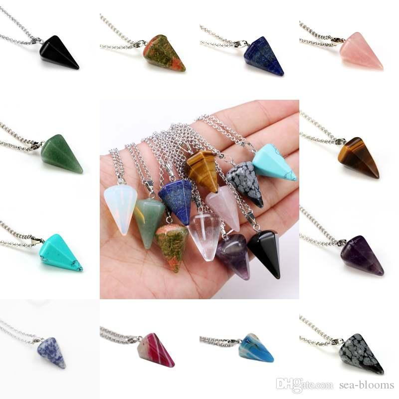 Natural Golden Tiger Eye Gemstone Rock Crystal Hexagonal Pointed Reiki Chakra Pendant Pendulum Necklace Free Shipping D792S