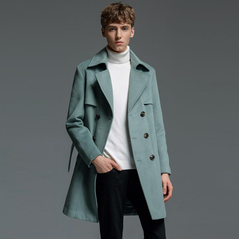 ab10a271e Plus size men double breasted wool pea coat winter fashion work business  long cashmere thick belted solid blends coat overcoat