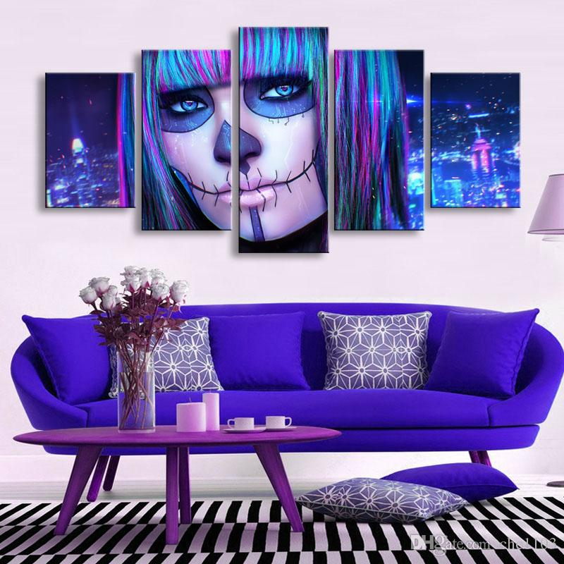 high-definition print Dead Face canvas painting poster and wall art living room picture RW-072