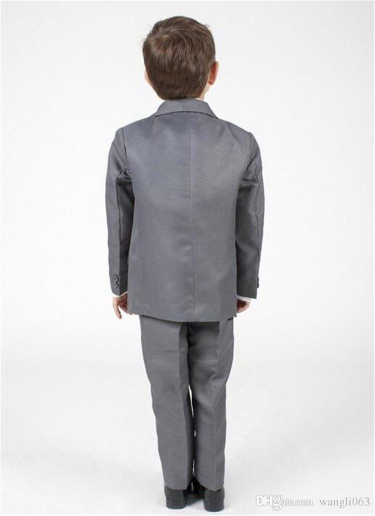 Gray Baby Boy Suits Christening Baptism Three Piece Notched Lapel Boys Wedding Suit Boys Formal Wear