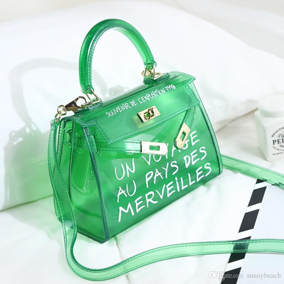 f3c5426083b0 New Fashion Satchel Handbag Clear Jelly Transparent PVC Women Bag Candy  Color Tote Bag Designer Purse Bolsa Crossbody Bag Leather Totes Jo Totes  From ...