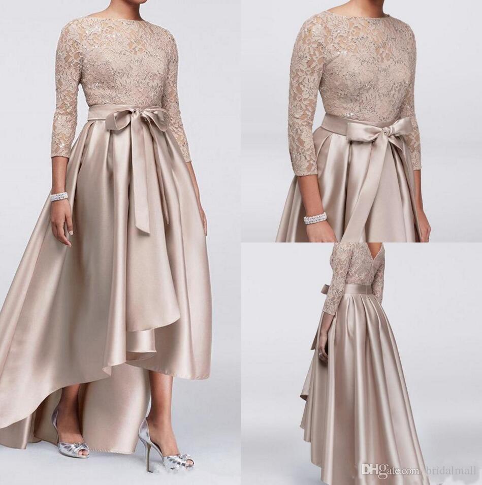 1eee5aefa48 2019 Champagne Lace Appliques Mother Of Bride Dresses Sequins 3 4 Long  Sleeves Satin Hi Lo V Back Arabic Formal Party Wedding Guest Dresses Kay  Unger Mother ...