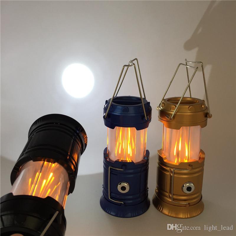 Portable LED Outdoor Camping Lantern Hiking Flame Lantern Tent Flashlights 2019