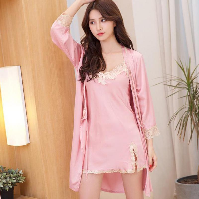 Compre L New Pink Wedding Bride Dama De Honor Robe Women Lace Flower ...
