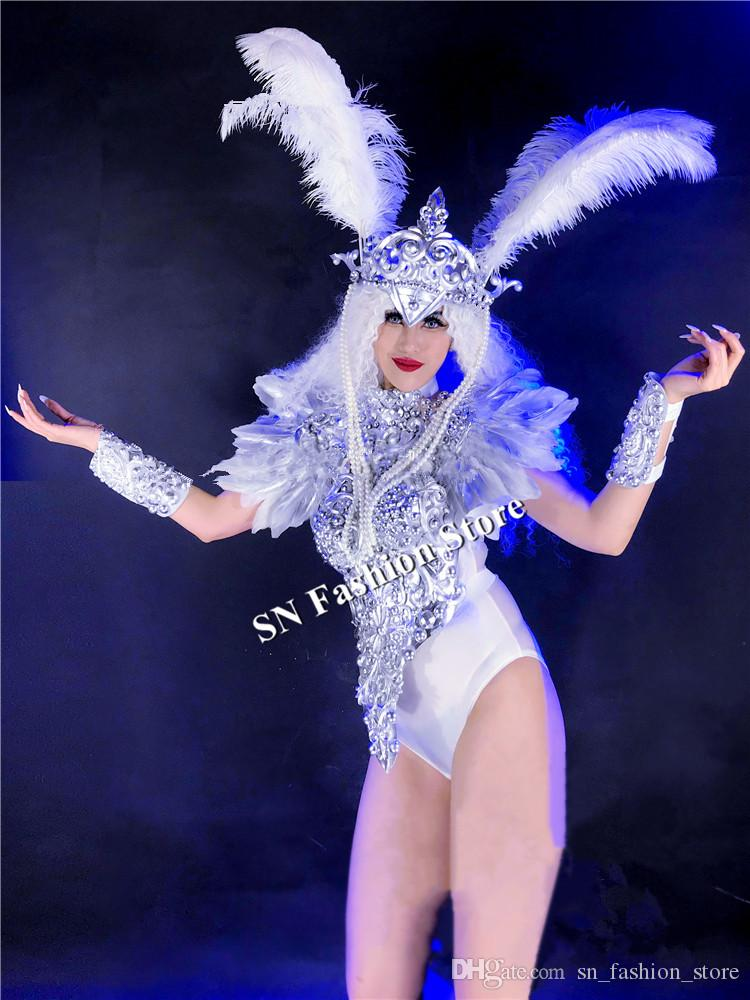 DC43 DJ ballroom dance costumes sexy women robot dress bar catwalk perforamnce wears cloth silver armor models suit singer party performance