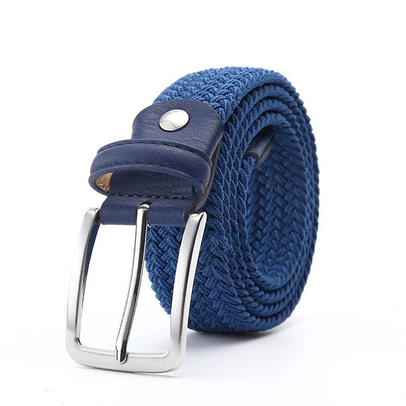 Compre Cinturones Elásticos Azules Elásticos Cinturón Elástico Trenzado  Cinturón Elástico Tejido De Cuero 1 3   8 Cinturón Elástico Ancho De Metal  Caliente ... 93e53ecec7a4