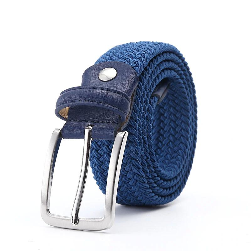 d6ed10f9bd9 Men Blue Elastic Stretch Waist Belt Canvas Stretch Braided Elastic Woven  Leather Belt 1-3 8